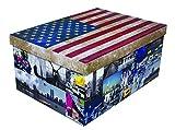 XXL Dekokarton mit modernem Muster Flagge USA / Amerika - Mit vielen verschiedenen USA Motiven, Tragegriffen und XXL Stauvolumen! Topp für jeden Haushalt oder als Geschenkbox.
