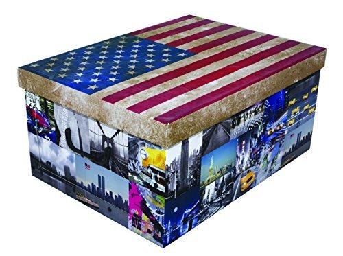 """XXL Dekokarton mit modernem Muster """"Flagge USA / Amerika"""" - Mit vielen verschiedenen USA Motiven, Tragegriffen und XXL Stauvolumen! Topp für jeden Haushalt oder als Geschenkbox."""