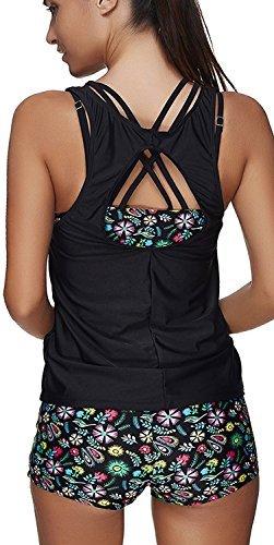 YuanYan Damen Summer Tankinis Mehrfarben Skort Bottom Set Zweiteilig Bademode Sport Yoga Fitness 3-Teilig Tankini Flower