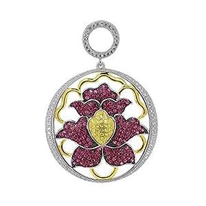 Rouge rubis & Signity zircone taille princesse jaune canari en forme de fleur rond-Pendentif Mixte-Argent 925/1000