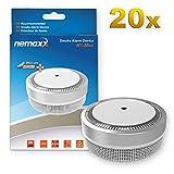 20x Nemaxx Detector de Humo M1-Mini sensibilidad fotoeléctrica - con batería de Litio Tipo DC3V - Conforme la Norma DIN EN14604 & VDS - Plateado