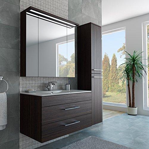 Badezimmer Möbel Set mit Waschbecken Spiegel und Hochschrank in Thermo Eiche / Dunkelbraun Braun