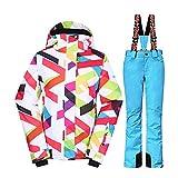 Wonny Brandneu 2 Teilig Skianzug Wasserdicht Schneeanzug Jacke und Hosen Unisex Skiset Blau L