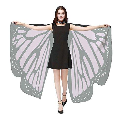 iYmitz Karneval Mode Damen Schmetterlingsflügel Frauen Schals Poncho Kostüm Zubehör Party Pashmina Zubehör Fasching Kostümzubehör(Rosa,Free Size)
