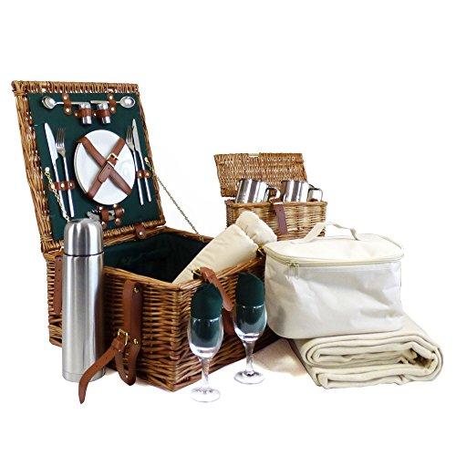 Luxuriöser Weiden Picknickkorb 'Ashby' für 2 Personen Mit Passendem Zubehör Eine Ideale Geschenkidee Zum Muttertag Und Geburtstag