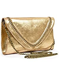 Jasbir Gill Envelope Clutch With Chain & Whipstitch Detail, JGSLCL-422