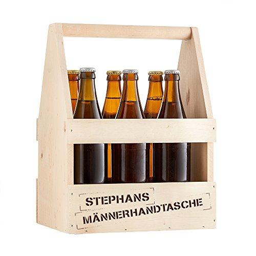 UTI GmbH Biertr/äger aus Holz f/ür 6 Flaschen Flaschentr/äger M/ännerhandtasche grau gebeizt Getr/änkekorb