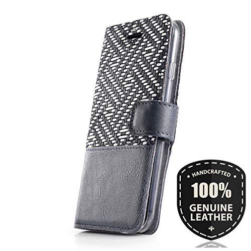 SURAZO Duo Premium Vintage Ledertasche Schutzhülle TV Wallet Case aus Echtesleder Farbe Mosaik Grau/Pearl Blau für Lenovo/Motorola Moto G5 (5,00 Zoll)