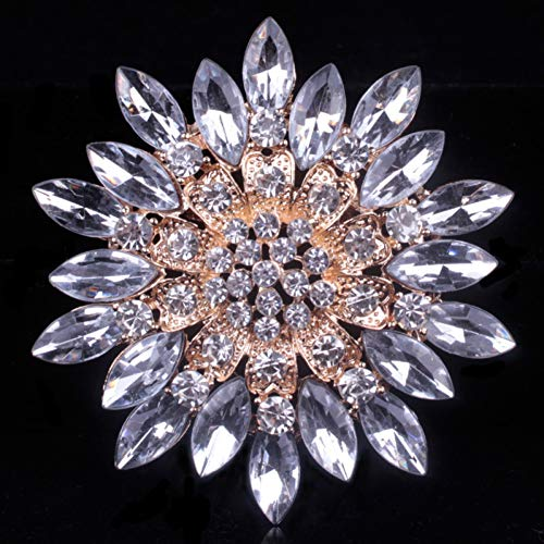 MYHMG Brosche Brand Classic Crystal Rhinestones Big Daisy Flower Brooches for Women Coat Or Wedding Bouquets -