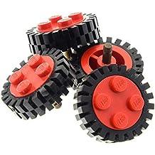 8 x Lego System Rad rot schwarz Felge Reifen Wagen Auto Anhänger 3483 6248c01