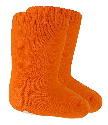 EveryHead Riese Babystoppersocken Mädchen Stoppersocken ABS Antirutsch Strümpfe Little Foot für Babys (RS-22120-S18-BM1-43-19/22) in Orange, Größe 19/22 inkl Hutfibel