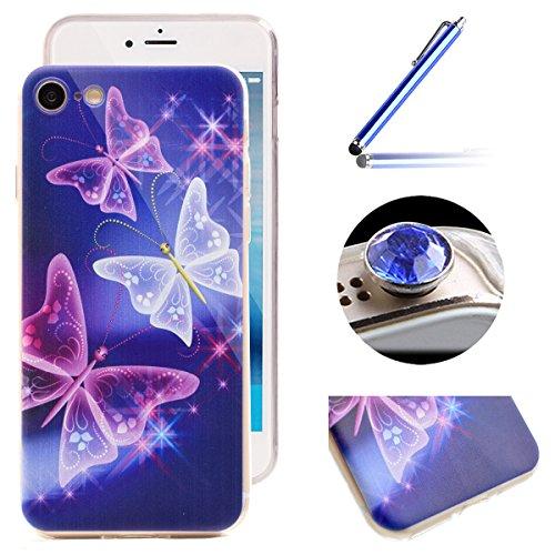 Etsue Case Pour iPhone 7 Plus,Ultra-minces TPU Silicone Coque Housse Pour iPhone 7 Plus,Diux Chir Housse Peinture Colorée Cover pour iPhone 7 Plus + 1 x Bleu stylet + 1 x Bling poussière plug (couleur Papillon
