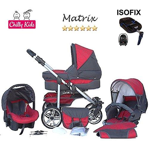 Chilly Kids Matrix II Kinderwagen Safety-Sommer-Set (Sonnenschirm, Autositz & ISOFIX Basis, Regenschutz, Moskitonetz, Schwenkräder) 13 Kreise Grafit & Grafit
