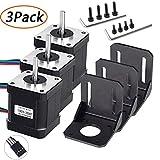 TopDirect 3 Pack Nema 17 Schrittmotor 2A 0,59 Nm (84 oz.in) 47mm Gehäuse mit 1m 4-Pin Kabel & Stecker und 3er Pack Montagehalterung für 3D Drucker Printer/CNC