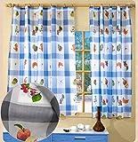 ForenTex Cortinas 2 Paneles Visillo para Ventanas de Cocina Decorativa Jerte Gris, 140x140cm, 2