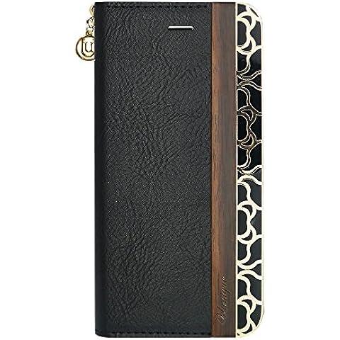 Diseño de madera Uunique modo funda tipo libro para iPhone 6/6S - negro