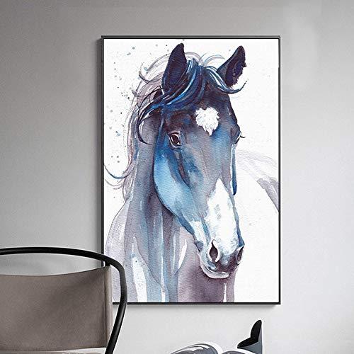XWArtpic Nordic Cool Aquarell Pferd Leinwand Malerei Fantasie Wilde Tiere Poster Dekorative Wandkunst Bilder für Wohnzimmer 60 * 100 cm