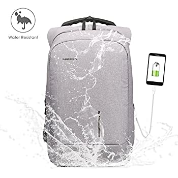Fresion Sac à dos antivol pour ordinateur portable Sac à dos résistant à l'eau avec port de charge USB pour 15,6 pouces ordinateur pour femmes et hommes(Gris)