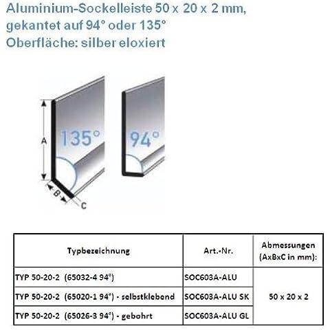 25 metros Rodapié / zócalo TYP 50-20-2 (Aluminio anodizado / plateado / 65032-4 94°)