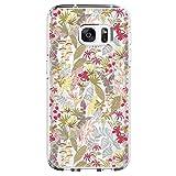 Samsung Galaxy S7 edge Coque Pacyer case Housse Étui Cuir Cover Couverture Fonction Support avec Fermeture Aimantée de Feuille Motif Bumper pour S7 edge (Fleur)