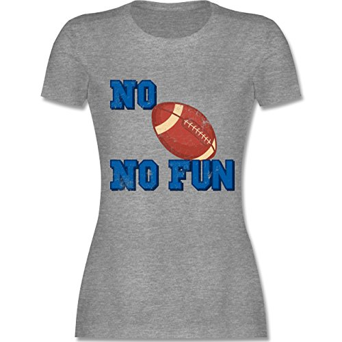 Shirtracer Sonstige Sportarten - No Football No Fun Vintage - Damen T-Shirt Rundhals Grau Meliert