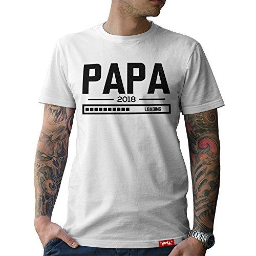 HARIZ  Papa: Original Collection T-Shirt//36 Designs Wählbar//Weiß, S-XXL//INKL. Urkunde, Geschenk I Vatertag I Geburtstag I Weihnachten #Papa07: Papa Loading 2018