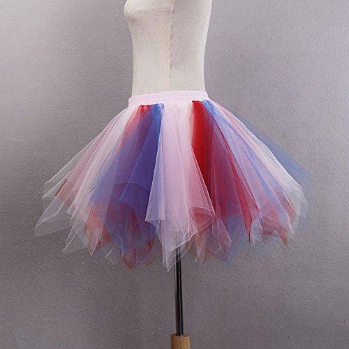 VKStar® Retro Damen Kurz Rock Ballett Einheitsgröße Vintage petticoat 50er Unterrock Reifrock Mehrfarbige Unterröcke Mischfarbig D
