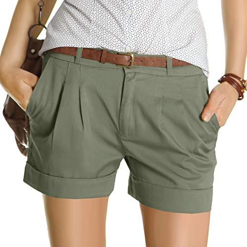 bestyledberlin Damen Shorts, Kurze Chino Hosen, Damenhosen, Bundfaltenhosen j161p 40/L Khaki