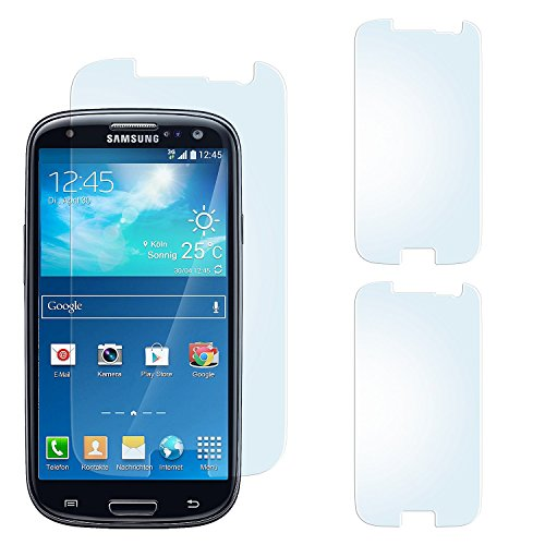 2x Samsung Galaxy S3 Schutzfolie Matt Display Schutz [Anti-Reflex] Screen protector Fingerprint Handy-Folie matte Displayschutz-Folie für Samsung Galaxy S3 / S III Neo Displayfolie - Bildschirm gewölbt, Folie bewusst kleiner Screen Protection Für Galaxy S3
