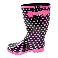 Wide Fit Wellies: Black with Pink Spots