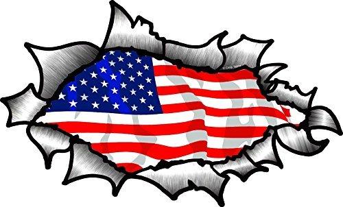 Auto Große Für Flagge-aufkleber Amerikanische (GROß OVALE GERISSENES OFFEN ZERRISSEN metall effekt Design Mit Amerikanisch Sterne & Streifen US Flagge Vinyl Auto Aufkleber 200x120mm)