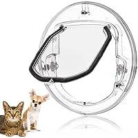 Fdit Katzenklappe Haustierklappe Kleine Hunde Katzen Tür mit 4 Möglichkeiten verriegeln Runde Klar Katze Klappe mit Tür Liner Kit Best