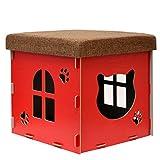 eyepower Cama para Gato 38x38x38cm pequeño S caja cuadrada para mascota con tapa acolchada para sentarse reposapiés incl alfombra rascadora Rojo