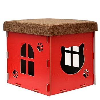 Eyepower Dôme pour Chat 38x38x38cm Petite Maison S INCL griffoir boîte carrée avec Couvercle rembourré pour s'asseoir Repose-Pied Rouge