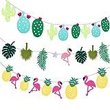 Yansion Hawaii Banner 3 Piezas con Estampado de Flamencos, Cactus, Piña decoran Fiesta de Hawai, Fiestas de Cumpleaños para Niñas