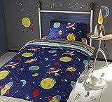 Wendebettwäsche Weltall, Raketen und Planeten Streifen bunt 2-in-1 Einzelbett Bettwäsche Set