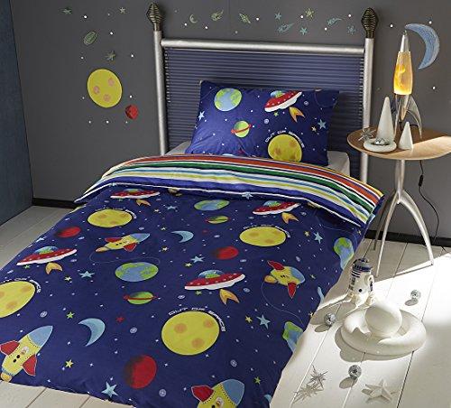 Per bambini bambini set copripiumino reversibile con federa in space rocket moon stars design taglia unica