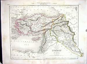 Asie Mineure Antique Chypre la Mer Noire Syrie de la Carte C1875 Archer Turquie d'Université