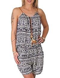 ed5fdfb6e0a0 Candygirls Aztek Overall Feder Holz Perlen Gummizug Jumpsuit Kurz Einteiler  Stretch Hosen Anzug Aztec 003-