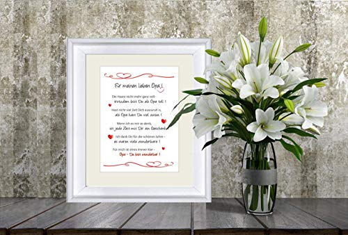 """""""Für meinen lieben Opa"""" - liebevoll gestalteter, personalisierter Kunstdruck als Geschenk für den Opa- 24 x 30 cm mit Passepartout - ohne Rahmen - bester Opa, lieber Opa, Geschenk Opa"""