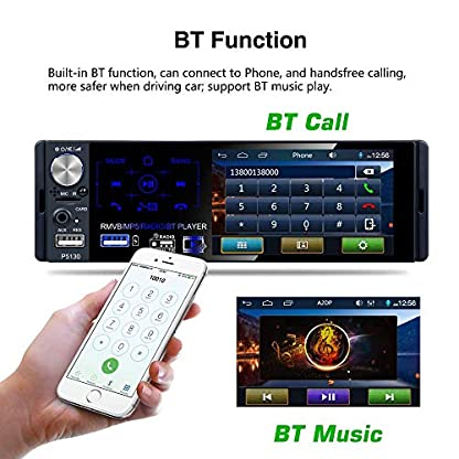 Youyuekeji-Car-Radio-Single-Din-Car-Stereo-41-LCD-Touch-Screen-with-Bluetooth-MP3MP5USBAMFMRDS-Radio-with-Steering-Wheel-Control-4-LED-Rear-View-Camera-Support-External-MicrophoneSubwoofer