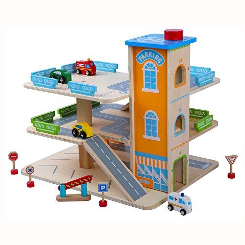 Garage En Bois Parking À Voitures Avec Étage Et Ascenseur Le Grand Garage Avec Accessoires Multicolore Très Amusant Park Toy à Trois étages Traffic Parking Park