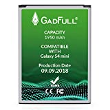 GadFull Batteria compatibile con Samsung Galaxy S4 mini | 2018 Data di produzione | Corrisponde al B500BE originale | Compatibile con Galaxy S4 mini i9190 |Dual SIM i9192|S4 mini LTE i9195