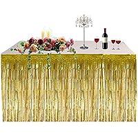 Falda de mesa decoración del partido de Hawai con flecos mesa falda gruesa tabla de la lluvia faldas cortinas fuentes de vacaciones para la decoración del partido de Pascua de Navidad(Oro)
