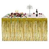 Jupe de table décoration de fête hawaïenne jupe de table à franges épaisse pluie rideau table jupe rideaux fournitures de vacances pour Noël décoration de fête d'anniversaire de Pâques(or)