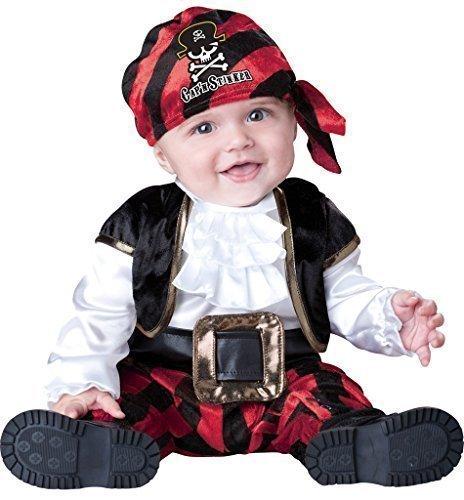 Baby Jungen Deluxe Kapitän Stinker Piraten-party Halloween Kostüm Kleid Outfit - Schwarz/Rot, 0-6 (Deluxe Piraten Kostüme Kapitän)