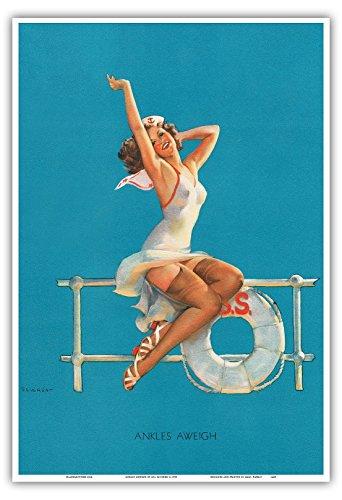 Pacifica Island Art Ankles Aweigh - Sexy Matrosen Pin-up-Mädchen - Vintage Retro Pin Up Kalender Seite von Gil Elvgren c.1939 - hawaiianischer Kunstdruck - 33cm x 48cm (Vintage Pin-up-kalender)