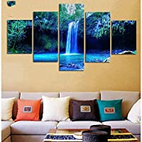 OLAJSDD Blue waterfall not framed 5pcs / set landscape paintings Modular picture wall art home decoration prints posters