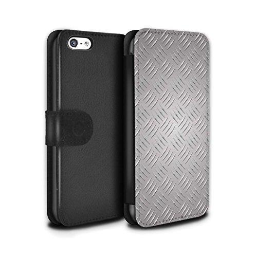 Stuff4 Coque/Etui/Housse Cuir PU Case/Cover pour Apple iPhone 5C / Rose Design / Motif en Métal en Relief Collection Argent