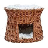 GalaDis 2-81-1 Ovale Katzenhöhle aus Weide Zwei Kissen. Ein Katzenkorb für Ihre Katze Zum Ruhen und Spielen
